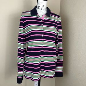 Lilly Pulitzer Striped Pima Cotton Polo Top NWOT L